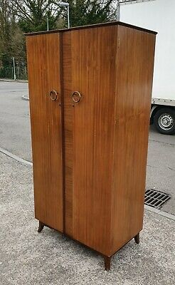Vintage 1960'S Walnut Veneered Single Fitted Wardrobe   Delivery Available