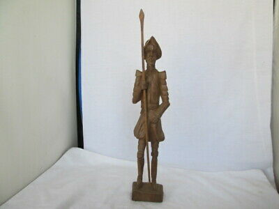 "Don Quixote Wood Hand Carved Knight Figure Statue 13 1/2"" High Vintage"