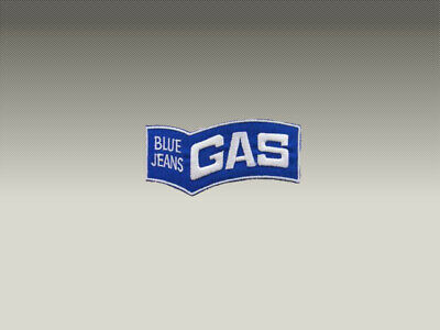 3 Patch Toppe Gas Blue Jeans Ricamate Termoadesive 5X3 Cm