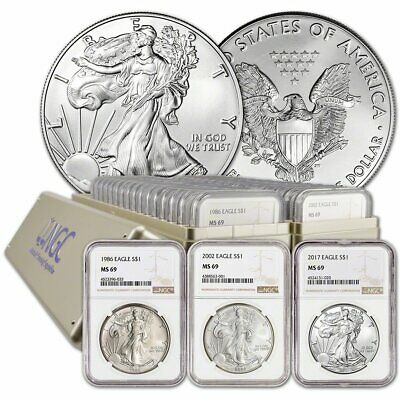 1986 - 2020 American Silver Eagle 35 Coin Set NGC MS69