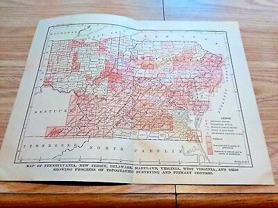 1904 Map of PA NJ DE MD VA WV OH Progress of Topographical Surveying & Stations
