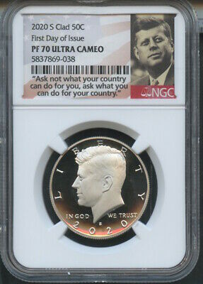 2020 S Clad Kennedy 50C First Day Of Issue NGC PF70 U.C. Portrait