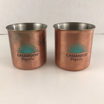 2 Casamigos Tequila Copper Finish Metal Cups Mini Drinking Glasses