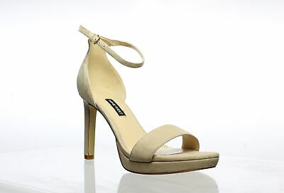 Nine West Womens Edyn Barely Beige Ankle Strap Heels Size 8 (755152)