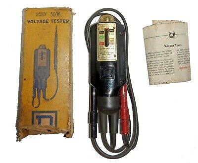 """Square D """"Wiggy"""" Volt Meter Voltage Tester #5008 w/ Box Instructions Works Great"""
