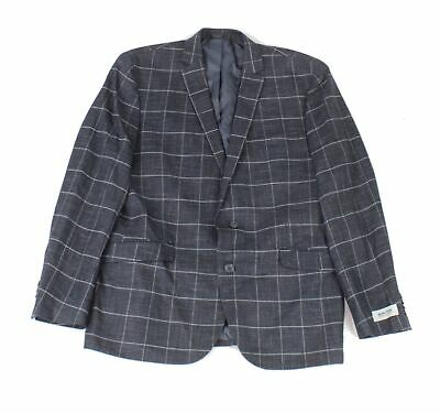 Kenneth Cole Mens Blazer Blue Size 44 Plaid Print Two-Button Notched $180- #138