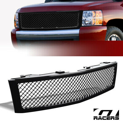 For 2014-2015 Chevy Silverado 1500 Glossy Black Mesh Front Bumper Grill Grille