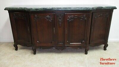 Antique French Country Marble Top Server Sideboard Buffet Monumental Walnut