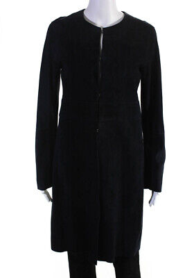 Theory Womens Knee Length Lamb Suede Jacket Navy Blue Size Small
