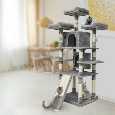 67'' Cat Tree Tower Condo Furniture Scratching Kitty Pet Play House Grey US