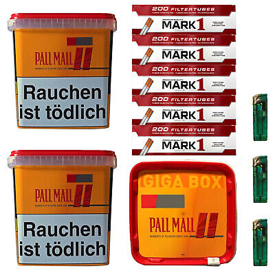 3x Pall Mall Allround Giga Box 250g Tabak/Volumentabak, Mark1 Hülsen, Feuerz.