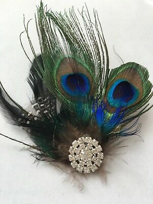 Green Peacock Feather Fascinator Hair Clip  Wedding Bridesmaids size 5''*4.5''
