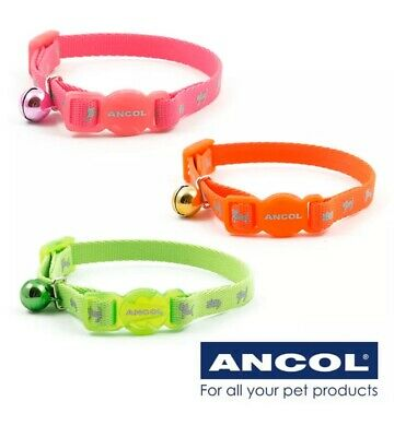 Ancol Kitten Collar Safety Buckle With Warning Bell Hi-Vis Reflective 3 COLOURS
