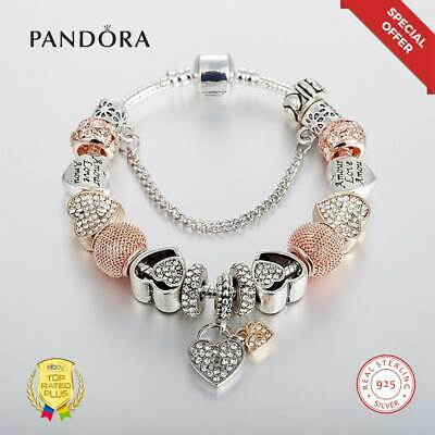 Authentic PANDORA Charm Silver Bracelet With LOVE STORY Gold Charm Luxury Style