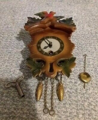 Vintage Minature Black Forest Cuckoo Clock, Boxed And Working