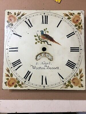 Beautiful Antique Grandfather Clock Dial Hand Painted Bird & Flowers C. 1820
