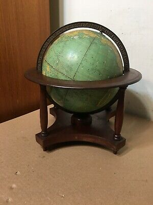 "Rare Vintage Crams 9"" Terrestrial Globe W/ Wood Stand Rare Size"