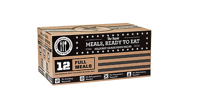 Case of 12 MRE Entrees Full Complete Meals Ready to Eat Survival Preparedness
