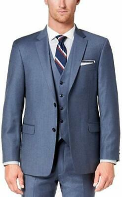 Tommy Hilfiger Mens Blazer Blue Size 44 Long Stretch Two Button Wool $425 #007