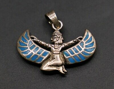 ANCIENT EGYPT EGYPTIAN ISIS WINGED Queen Goddess Very OLD SILVER from 1955
