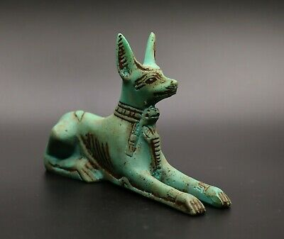 RARE EGYPT EGYPTIAN ANUBIS ANTIQUES God Deity Dog STATUE Carved Green STONE BC