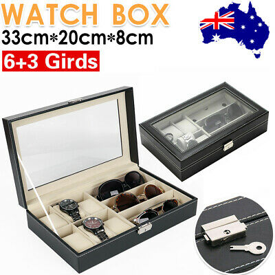 9 Grids Watch Display Box Case Jewelry Collection Leather Holder Storage Gift