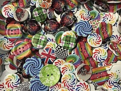 White Wood Buttons Large Assortment of crazy pattern wood buttons
