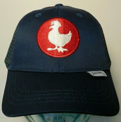 Red Chicken Rooster Logo Mesh Back Strap Back Team Member Hat Cap Zaxby/'s Navy