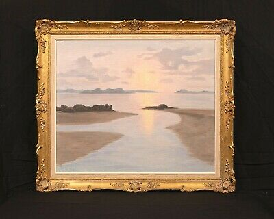 Large Early 20th Century French Sunset Beach Roger De La Corbiere (1893-1974)