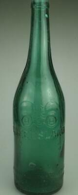 Vintage Embossed BEB Binoculars 26 fl oz Green Crown Seal Beer Bottle PR413