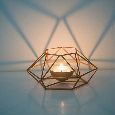 Geometric Iron/Copper Wire Candlestick Tealight Candle Holder Tabletop Craft CA