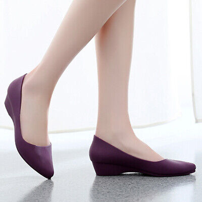 Women Formal Pointed Toe Wedge Heel Soft Sandals Office Work Slip On Comfy Shoes