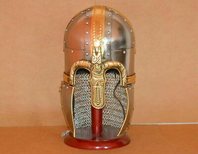 Ancient Medieval Knight Armour Viking BrassHelmet Replica With Wooden Stand