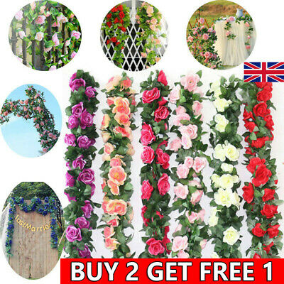 2x 8Ft Artificial Rose Garland Silk Flower Vine Ivy Wedding Garden String Decor