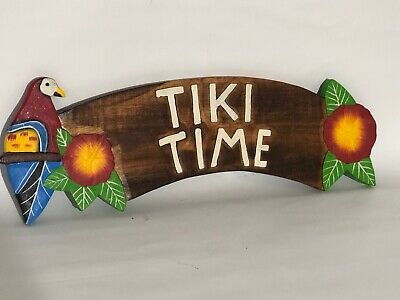 """20"""" Tiki Time Parrot  Hand Carved Wood Sign Wall Art Tropical Patio Tiki"""