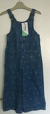 Girls M&S Blue Denim Dungarees With Star Details Bnwt Gift Present 7-8 Yrs