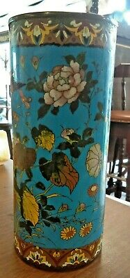 Antique Cloisonne Cylindrical Vase Decorated with Shrubs on Kingfisher Blue