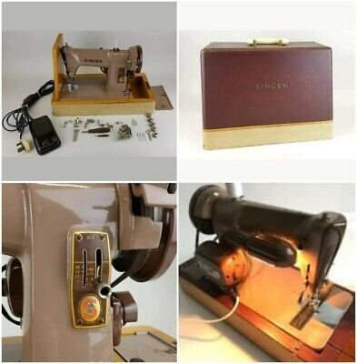 Vintage Motorised Singer Sewing Machine 185K Full Clean & Oiled Working Order