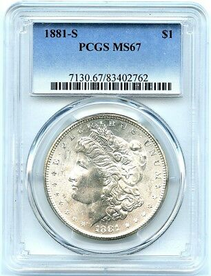 1881-S Morgan Silver Dollar PCGS MS-67, Brilliant Dollar, White Monster Coin!