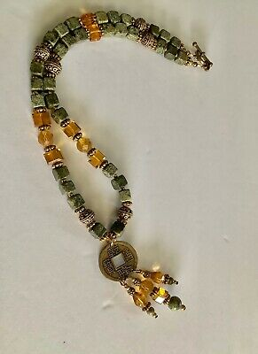 "Square Green Stone Bead And Crystal Amber Beads 17"" Necklace Chinese Coin Dangle"