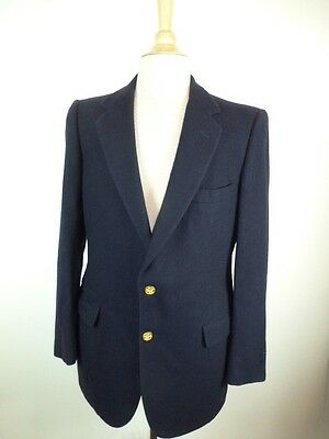 NEIMAN MARCUS NAVY BLUE CASHMERE BLAZER Jacket SPORTCOAT GOLD BADGE BUTTONS 38