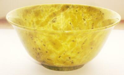 STUNNING ANTIQUE CHINESE QING DYNASTY MOTTLED GREEN JADE BOWL 19th CENTURY