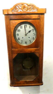 1900  French Silvered Dial Striking Wall Clock With Deep Crest Carvings