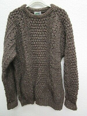 Hand-Loomed Ireland Donegal Aran Mens Pure Wool Knit Sweater
