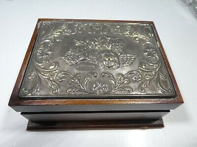 Sterling Silver Topped Wooden Trinket Box With Winged Angels