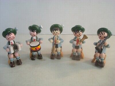 OCTOBERFEST German Bavarian Wood Figures Handmade Musical Band FOLK ART AS IS*