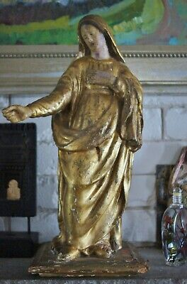 Antique Italian Carved Wood Madonna Gold Gesso Art Figure Florence Antiquity
