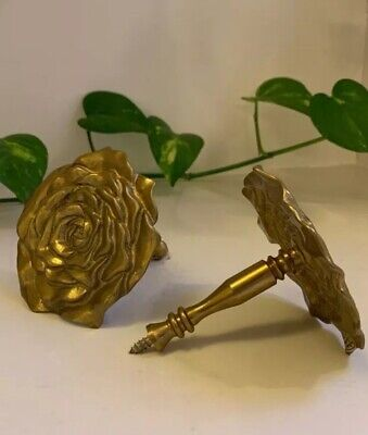 Antique Brass Rose Curtain Tie Backs