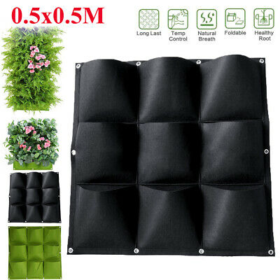 9 Pocket Planting Bag Outdoor Garden Wall Hanging Flower Pouch Vertical Planter