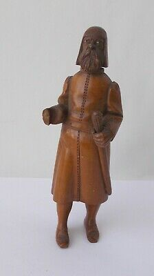 """Wood Carved Ethnic Man with Staff~~7 1/2"""" Tall~~Beaded Eyes~~Stands On His Own"""